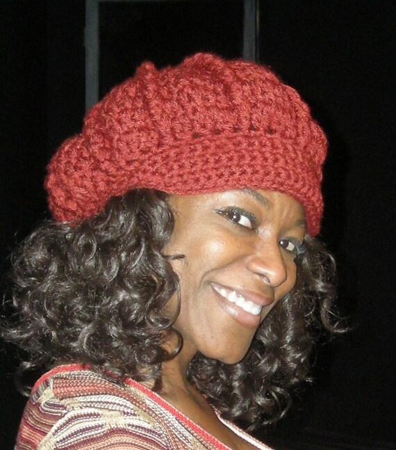 Brick Red Crocheted Hat Newsboy Style Hat with Brim - Women's Hat - Autumn Accessories - Crochet Cap - Funky Hat