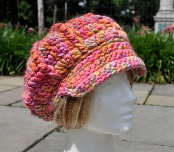 Wool Newsboy Hat - Pink Crocheted Hat with Brim - Last One