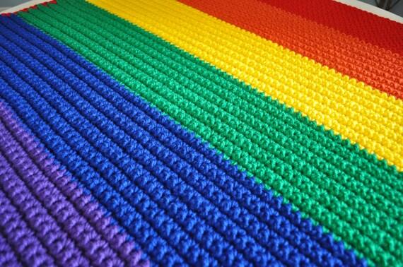 The Rainbow Pride Baby Blanket - Gay Pride Crochet Afghan - LGBT