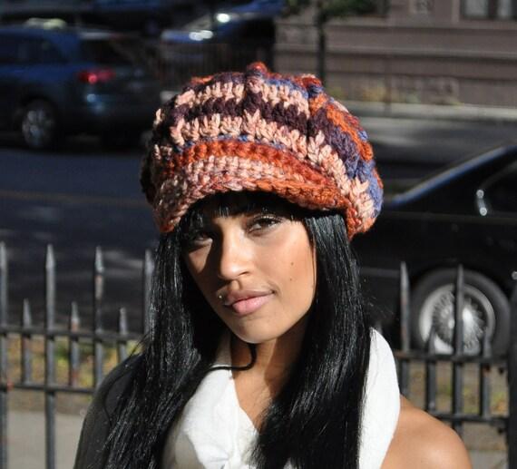 Blue, Brown and Orange Crocheted Newsboy Hat with Brim - Crochet Hat for Women - Autumn Accessories - Orange Hat  - Women's Hat