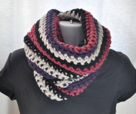 Crocheted Cowl - Multi-Colored - Chunky Knits - Winter Accessories - Black, Linen, Aubergine Purple, Dark Rose Circle Scarf
