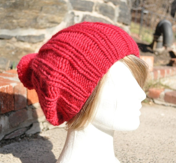 Red Knit Hat - Ribbed Knit Slouchy Hat with Pom Pom