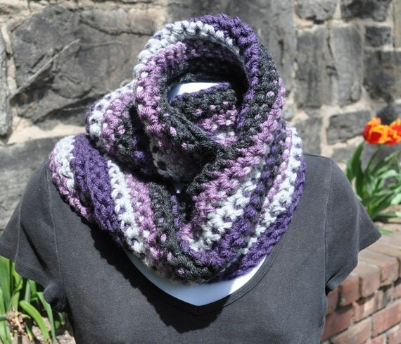 Crocheted Cowl - Multi-Colored - Chunky Knits - Winter Accessories - Dusty Purple, Aubergine, Dark Grey Heather, Silver Heather