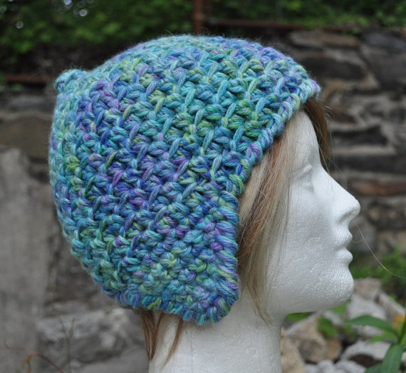 Alpaca Wool and Bamboo Ear flap Hat - Blue Crocheted Hat - Winter Accessories