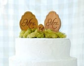 MRS. & MRS.  Wooden Keepsake Cake Topper