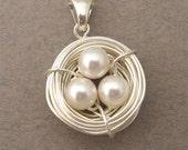 Bird's Nest Pendant - Dove Necklace - Dove Nest Pendant