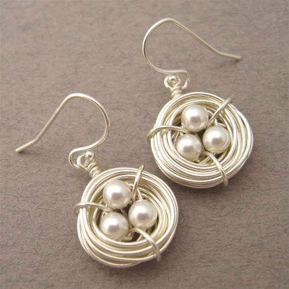 Birds Nest Earrings (white swarovski)