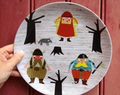 viking melamine plate - vikings in the woods