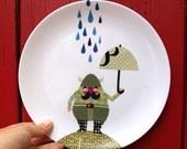 viking melamine plate - viking in the rain