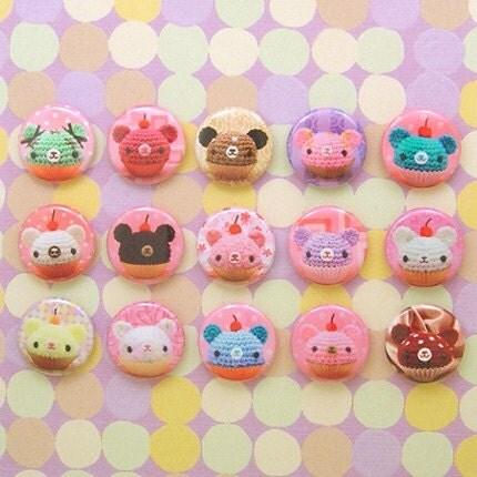 Amigurumi Cupcake Bears 15 pin badge set B one inch buttons