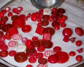Vintage Red Buttons-80 plus