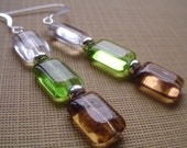 Czech Glass Rectangle and Sterling Silver Earrings