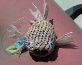 recycled art-plastic crocheted fish