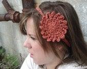 Crochet Headband - Salmon Orange Colored Flower
