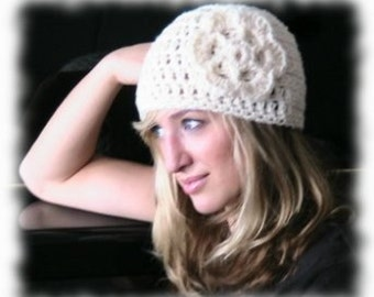 Crochet Hat - Chunky Cream Hat with Large Flower