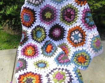 Crochet Baby Afghan Blanket - Multi-colored Hexagon