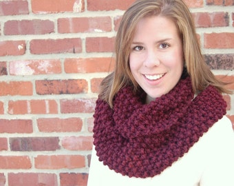 Chunky Bulky Knit Cowl in Maroon- Infinity Scarf
