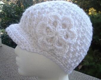 Crochet Newsboy Hat Pattern or Cloche + Flower Pattern. Instant PDF Download