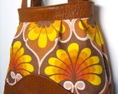 Dalla Purse - Sunburst Retro Print Dupioni Silk w/ Caramel Faux Ostrich Leather