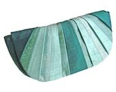 Pleated Silk Clutch Purse - Underwater Aquas