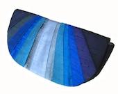 Indigo Monochromatic Pleated Silk Clutch Purse