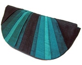 Peacock Pleated Silk Clutch Purse