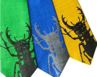 Stag Beetle Silk Tie