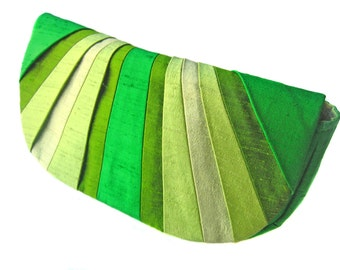 Pleated Silk Clutch Purse - Retro Greens