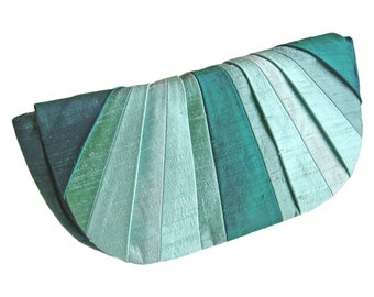 Pleated Silk Clutch Purse - Underwater Aquas