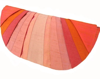 Coral Monochromatic Pleated Silk Clutch Purse