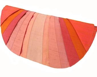Coral Monochromatic Pleated Silk Clutch Purse