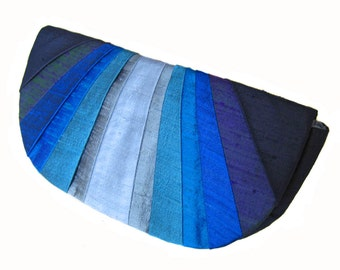 Indigo Monochromatic Pleated Silk Clutch Purse