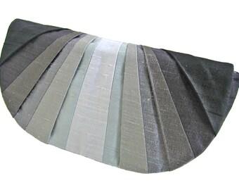 Grayscale Monochromatic Pleated Silk Clutch Purse