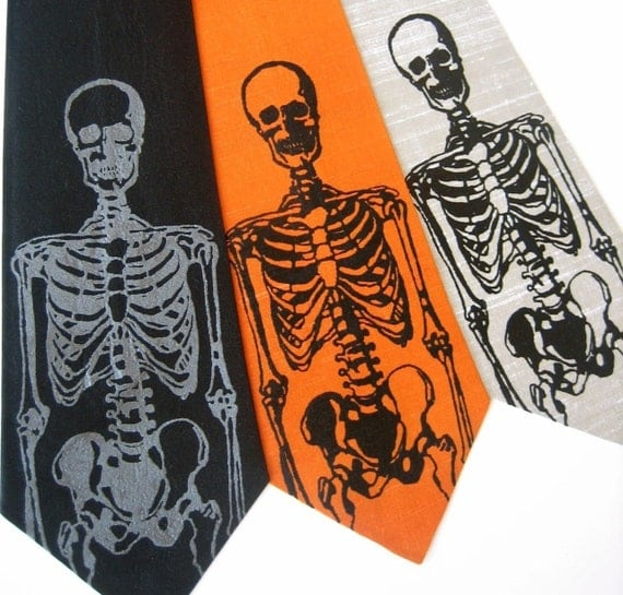 Skeleton Silk Necktie    Choose Your Color