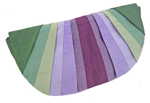 Green & Purple Blossom Pleated Silk Clutch Purse