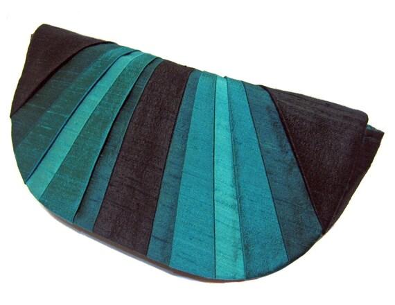 Peacock Pleated Silk Clutch Purse