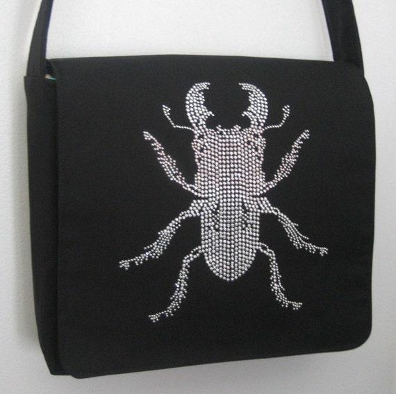 Rhinestone Stag Beetle Messenger Bag