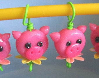 Blooming Precious Piglets Stitch Markers