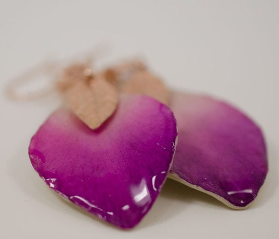 Real Orchid Petals with Rose Gold Earrings