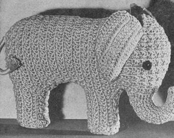 INSTANT DOWNLOAD 1944 Pink Elephant Toy Vintage Crochet Pattern PDF 098
