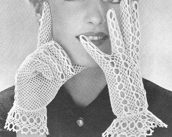 1950 Lacy Bridal Gloves Vintage Crochet Pattern PDF Instant Download 270