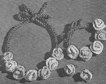 1950's Jewelry Set: Necklace, Bracelet and Earrings Vintage Knitting Patterns PDF Instant Download 258