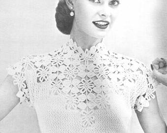 1955 Flower and Leaf Yoke Blouse Vintage Crochet Pattern Instant Download PDF 132