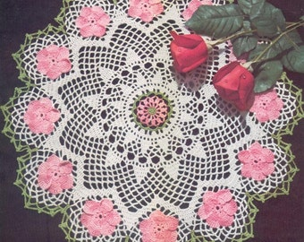 1950's Wild Rose Doily Instant Download Vintage Crochet Pattern PDF 233