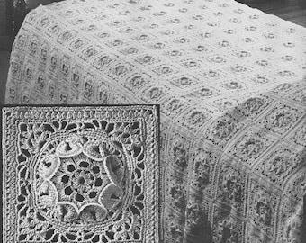 1949 Flower Queen Bedspread Vintage Crochet Pattern Instant Download PDF 374