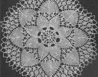 1951 Sunflower Doily Vintage Knitting Pattern Instant Download PDF 023