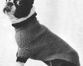 1955 Turtle-Neck Dog Sweater Vintage Knitting Pattern Instant Download PDF 394