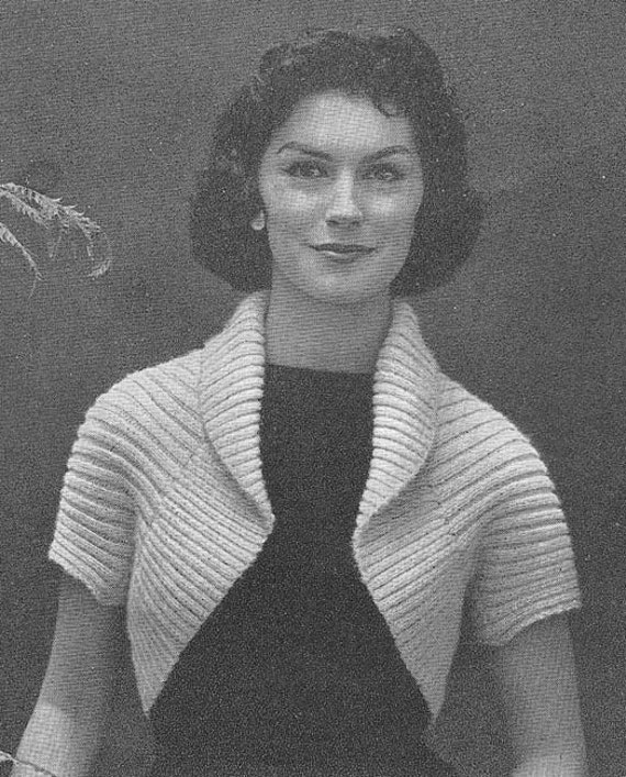 Free Vintage Knitting Patterns 1950s : 1950s Simple Shrug Vintage Knitting Pattern PDF 137 by annalaia