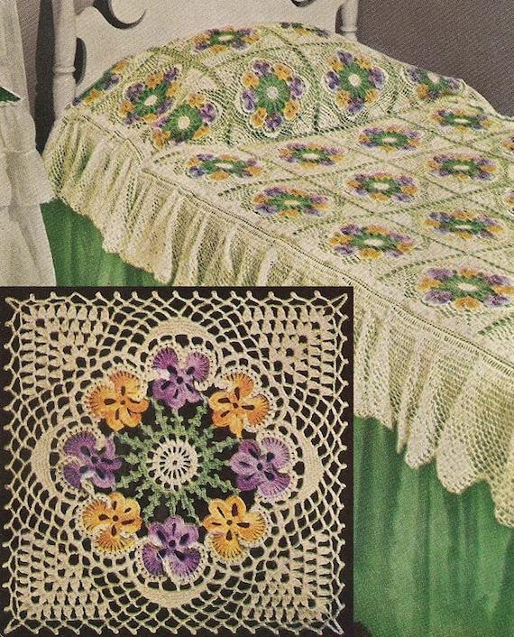 INSTANT DOWNLOAD 1949 Pansy Bedspread Vintage Crochet Pattern PDF 271