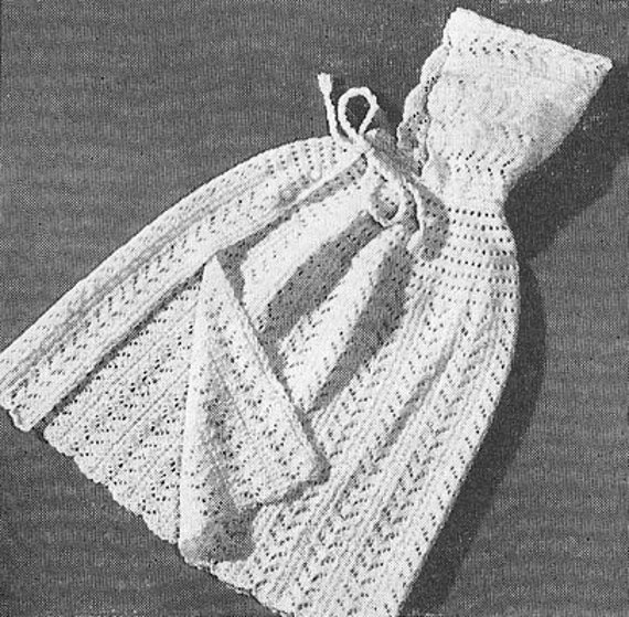 Knitting Pattern Cape With Hood : 1950 Lacy Baby Cape With Hood Vintage Knitting Pattern by annalaia